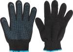 Перчатки вязаные утепленные черные х/б с ПВХ, FIT, 12497